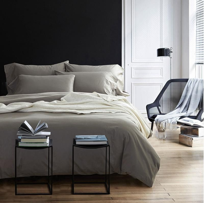 TUTUBIRD Luxury Solid Color Egyptian Cotton Bedding Set Duvet Cover Sheet  Pillowcase King Queen Size White