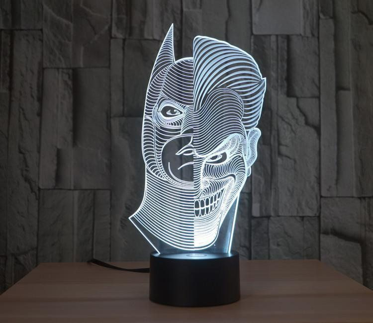 Batman Joker Morphing 3d Illusion Acrylic Led Lamp Vector Dxf Cdr For Cnc Vector File Digital Vector Art Cnc File Cnc Illusions 3d Illusions Batman Joker