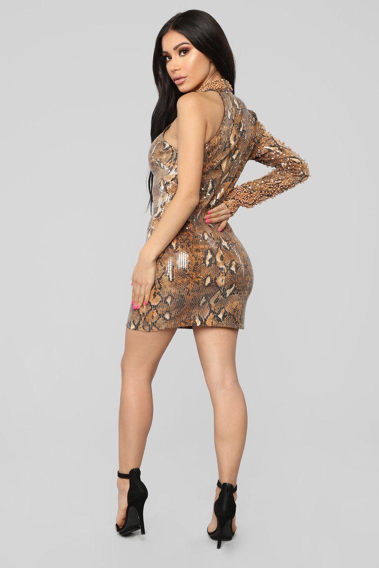 Kill 'Em With Glam Snakeskin Embellished Dress Brown