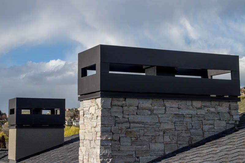 Modern Vented Chimney Shrouds Chimney Cap Chimney Design Grey Exterior