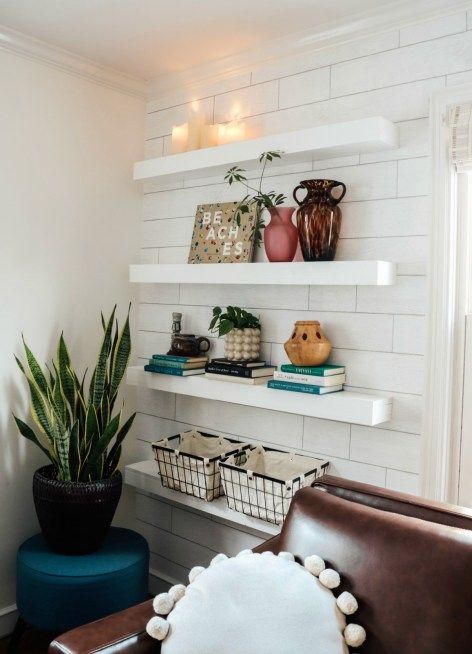 Small Cape Cod Living Room Makeover Family Room in a Small Cape gets a Major Makeover  Nesting With Grace  With a few simple furniture pieces wallpaper and DIY shelves we...