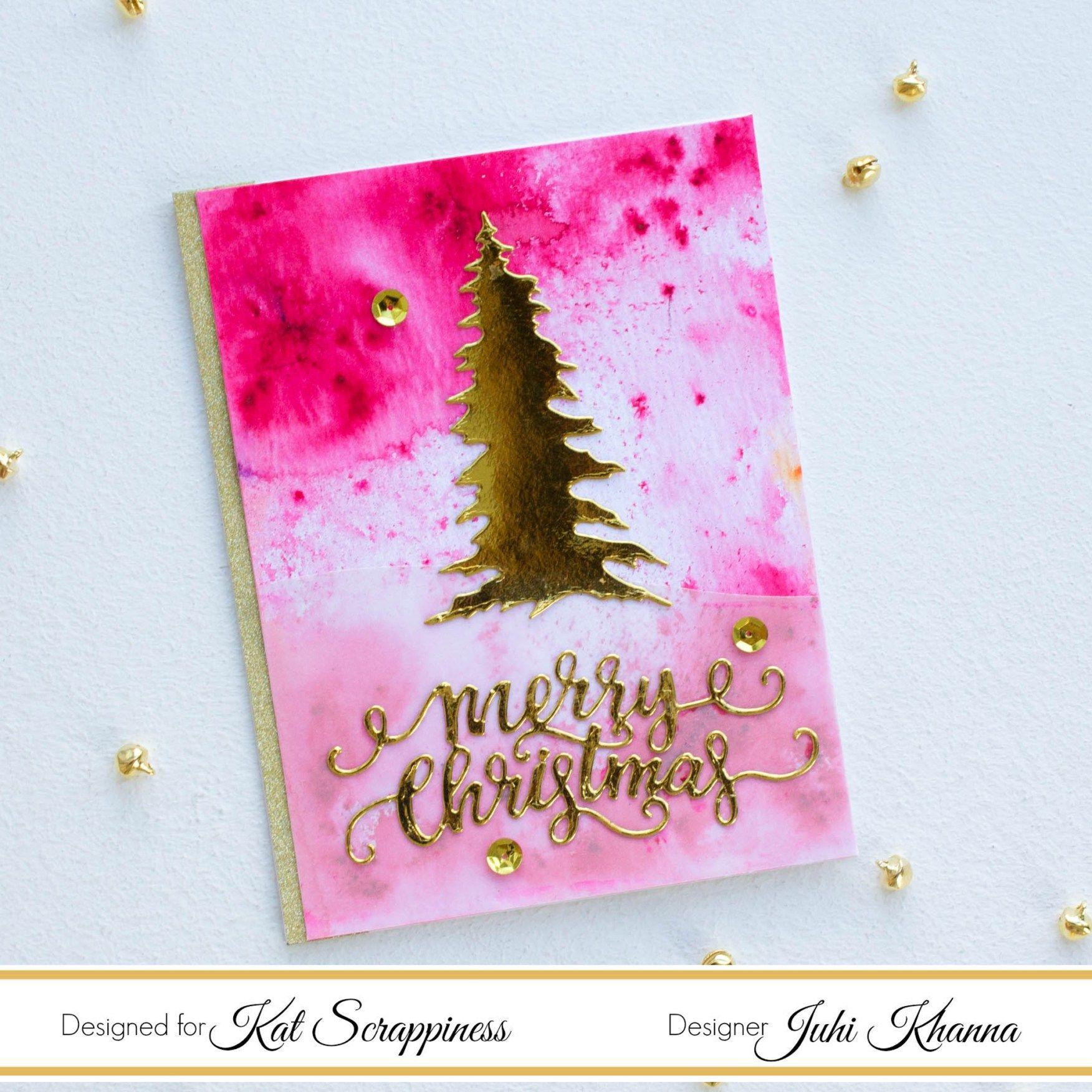 PINE TREE & CURSIVE MERRY CHRISTMAS