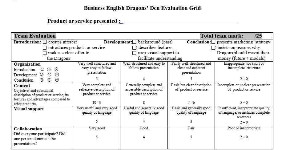 Evaluation Grid   Istruzione