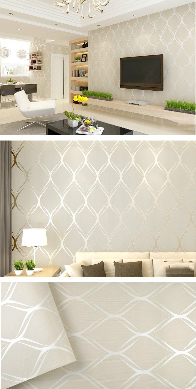 Contemporary Living Room Wallpaper Luxury Shimmer Pattern Mo