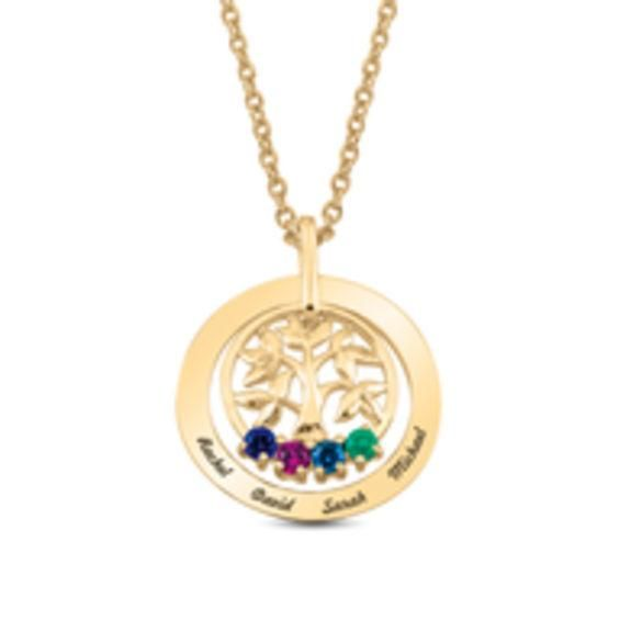Zales Mothers Birthstone Family Tree Double Circle Pendant (2-5 Stones and Names) x5uq4g