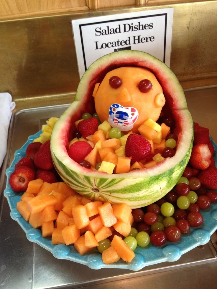 Watermelon Fruit Bowl For Baby Shower Via Cindy Struble Shipley