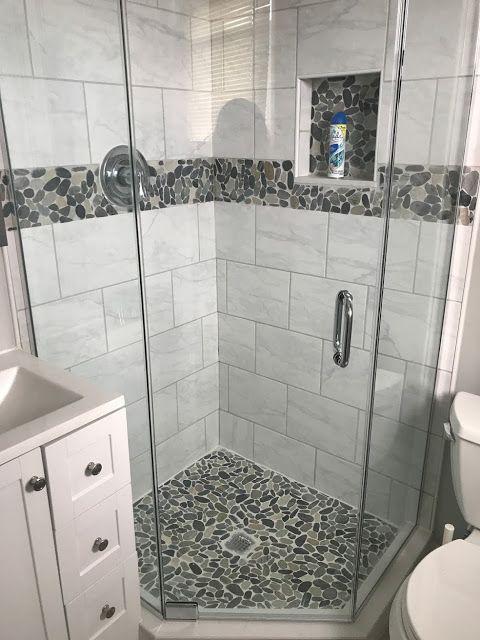 A Jolly Home Bathroom Renovation Remodel White Bathroom Carrara Ceramic Tile Pebble Small Bathroom Makeover Small Bathroom With Shower Bathroom Remodel Shower