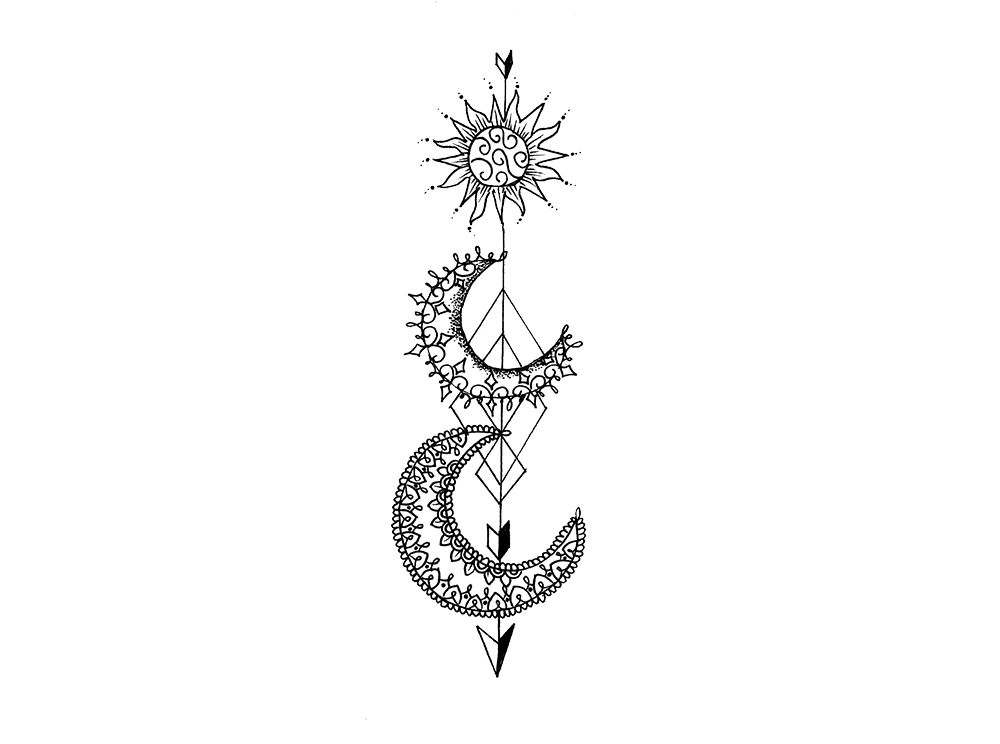 86b25e769 Here we have a illustration of a the sun + moon with an arrow made into a  temporary tattoo! Designed by Olivia Fayne. These arrow temporary tattoos  are ...