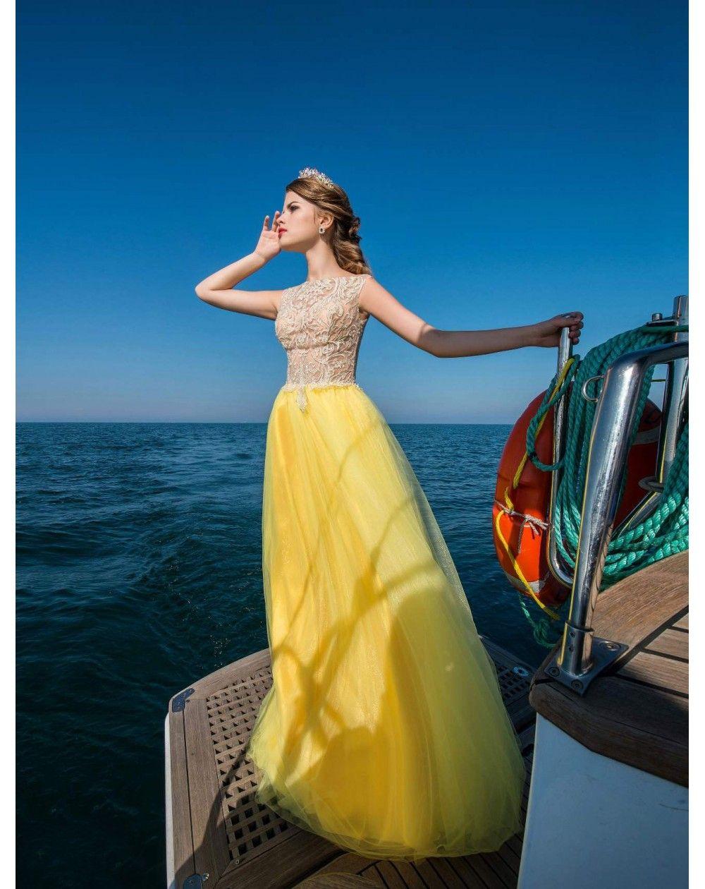 01ba2ff5c639 Dlhé spoločenské šaty EVIE s čipkovaným živôtikom a tylovou sukňou ...
