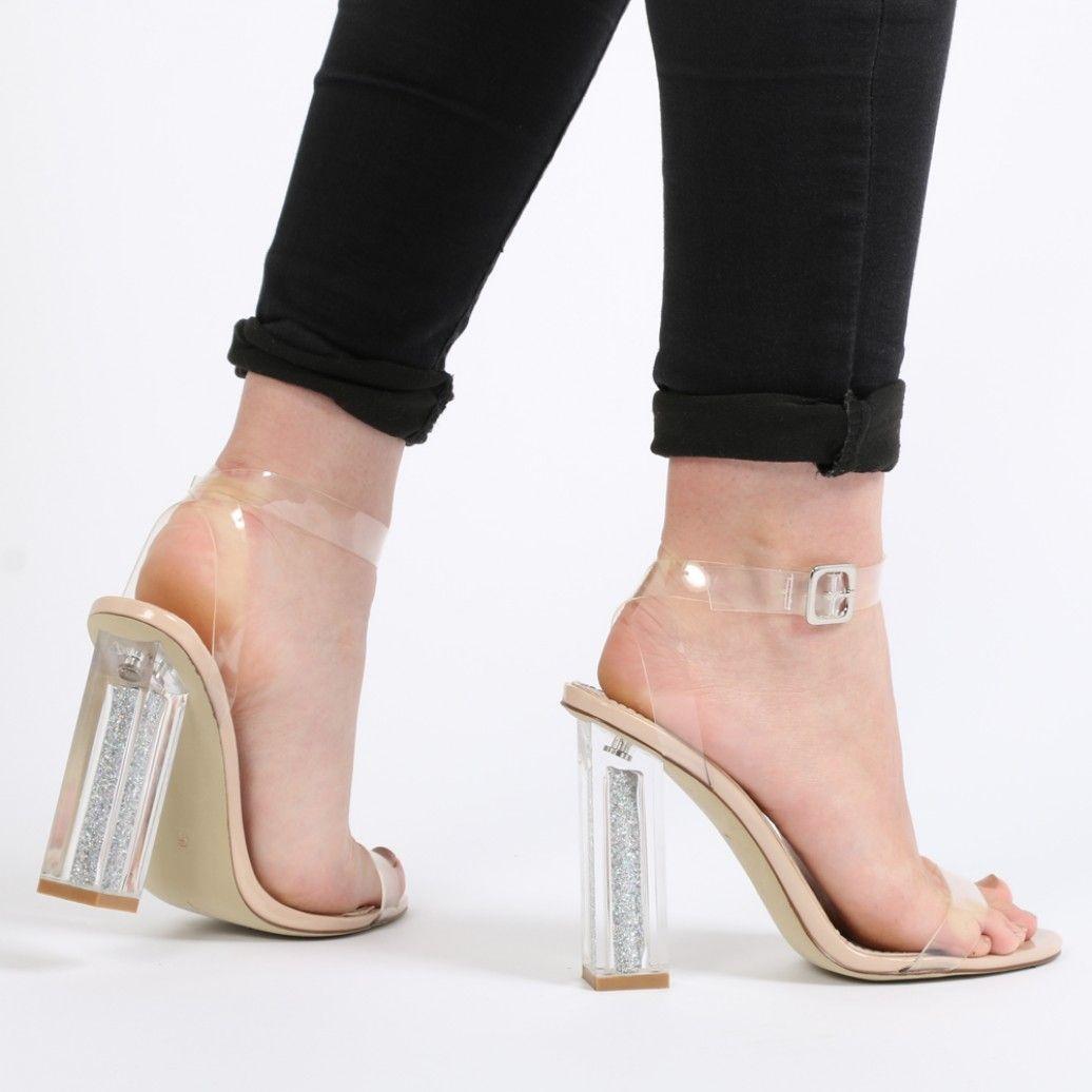 9ccfe5b222d Alia Strappy Perspex Glitter Heel in Nude