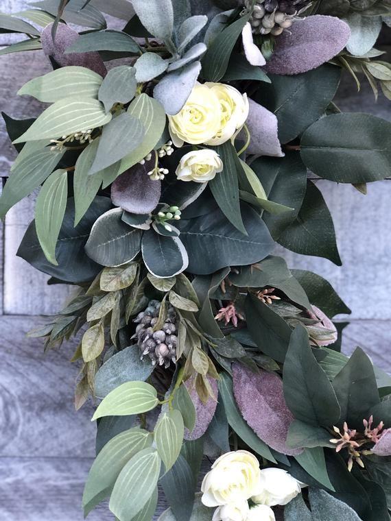 Photo of Spring wreath for front door, green wreath, peasant wreath, spring decor, eucalyptus wreath, succulent wreath, Easter wreath, veranda
