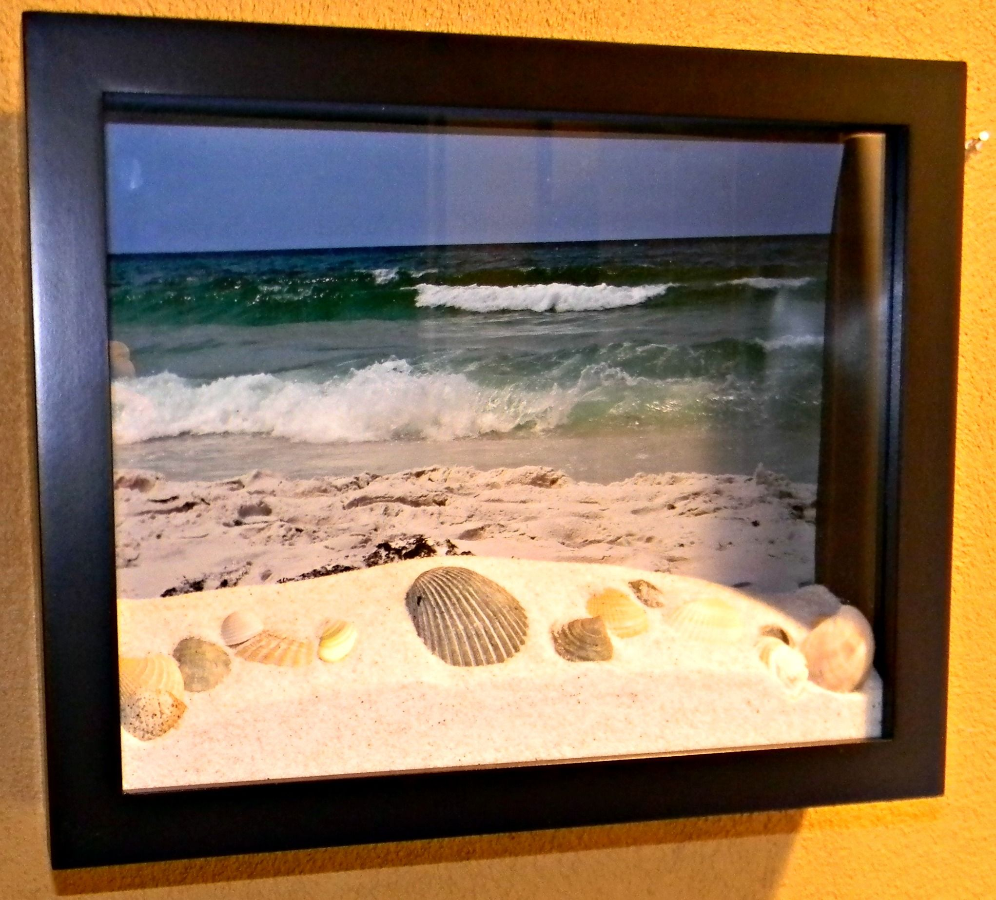 Honeymoon shadowbox. I made it with a picture I took and sand and ...