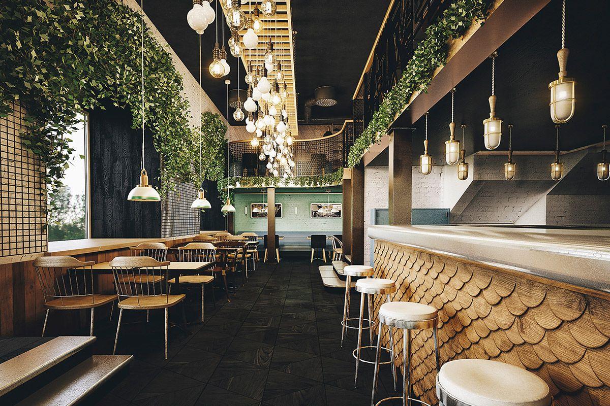 Le restaurant holy smoke par le bureau bumblebee interior style ref