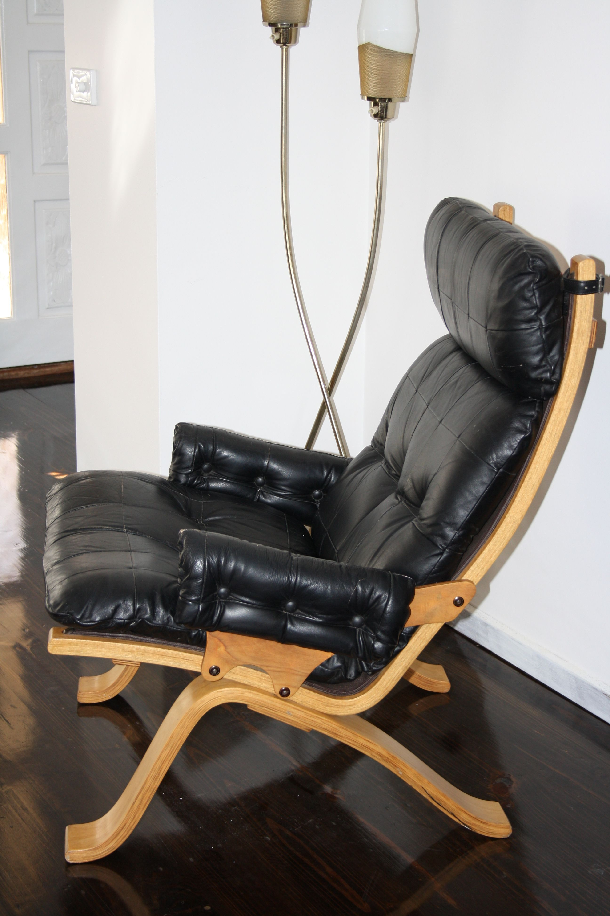 Gerald Easden Mid Century Leather Bentwood Ply Armchair Chair