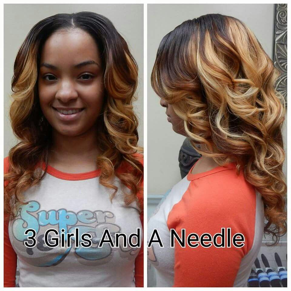 3 Tone Dyed Ombre Hair Color Sew In Weave Hairmakeup Pinterest