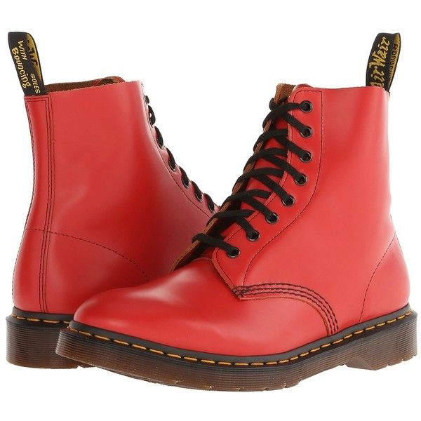 Dr Martens Pascal 8 Eye Boot Red Red Leather Boots Boots Lace