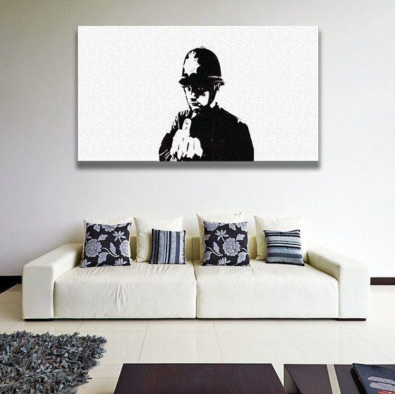 Banksy Policeman Canvas Art Officer Gift Police Man Etsy Wall Canvas Frames On Wall Graffiti Wall