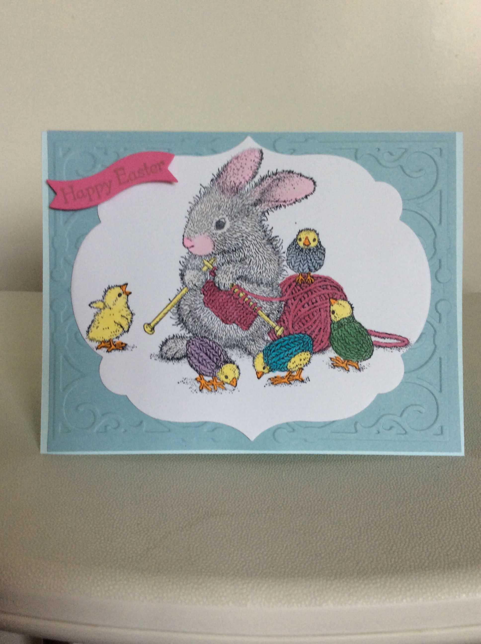 Knitting Bunny Easter Card
