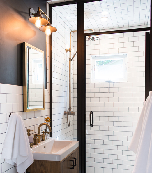 Brilliant Bathroom Features Black Paint On Upper Walls And White Subway  Tiles On Lower Walls Accented With Black Grout Framing A Stained Oaku2026