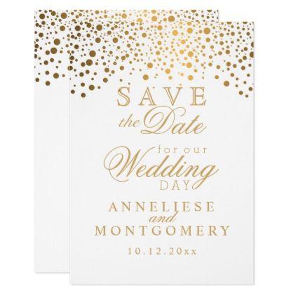 Stylish gold confetti dots white satin card gold wedding gifts stylish gold confetti dots white satin card gold wedding gifts customize marriage diy unique stopboris Gallery
