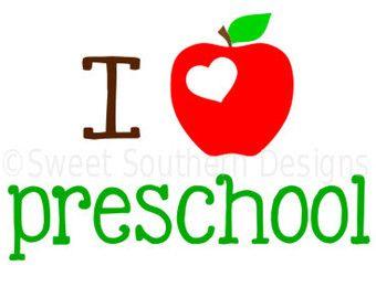 Download I heart preschool with apple SVG instant download design ...