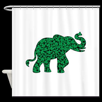 Shamrock Elephant Shower Curtain By Roxy407 Elephant Shower