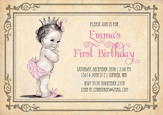 Princess Girl First Birthday Invitations Vintage Princess Birthday