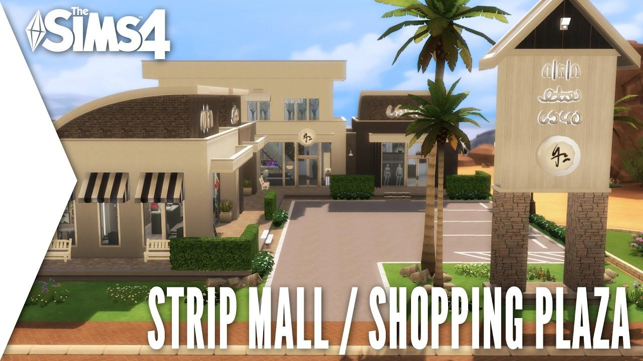 The Sims 4 Speed Build 214 Strip Mall Shopping Plaza Sims 4 House Design The Sims 4 Lots Strip Mall