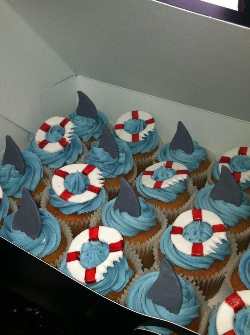 3 Tier Baby Shark Cardboard Cupcake Stand,12 pcs baby shark cupcake Wrappers,6+6 pcs baby shark cupcake toppers for Baby Shark Themed Party baby shark Decoration Supplies