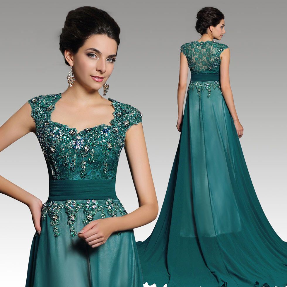 Robe de soirée verte luxe ornée de bijoux - Persun.fr | Karakou ...