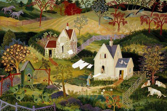 Anna Pugh Painting Of Folding The Linen American Folk Art