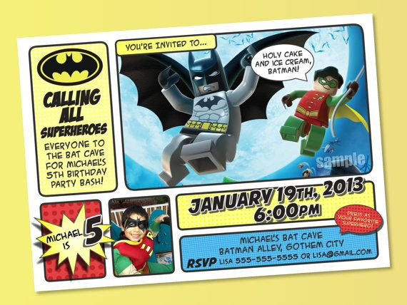Batman Invitations Batman And Robin by MyCelebrationShoppe 1000