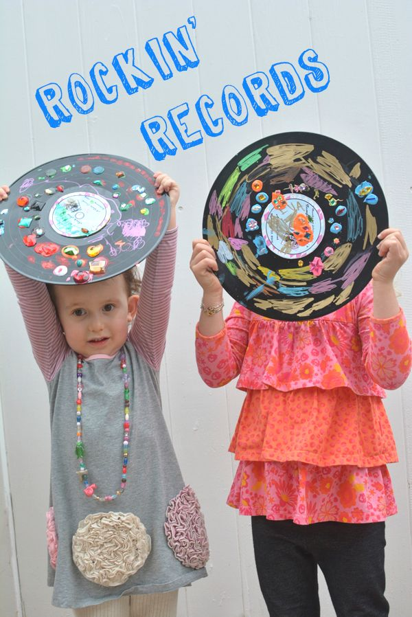 rockin 39 records easy art project for kids recycled art
