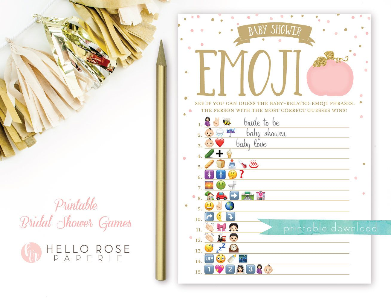Pumpkin Emoji Baby Shower Pictionary Game Pink And Gold Baby