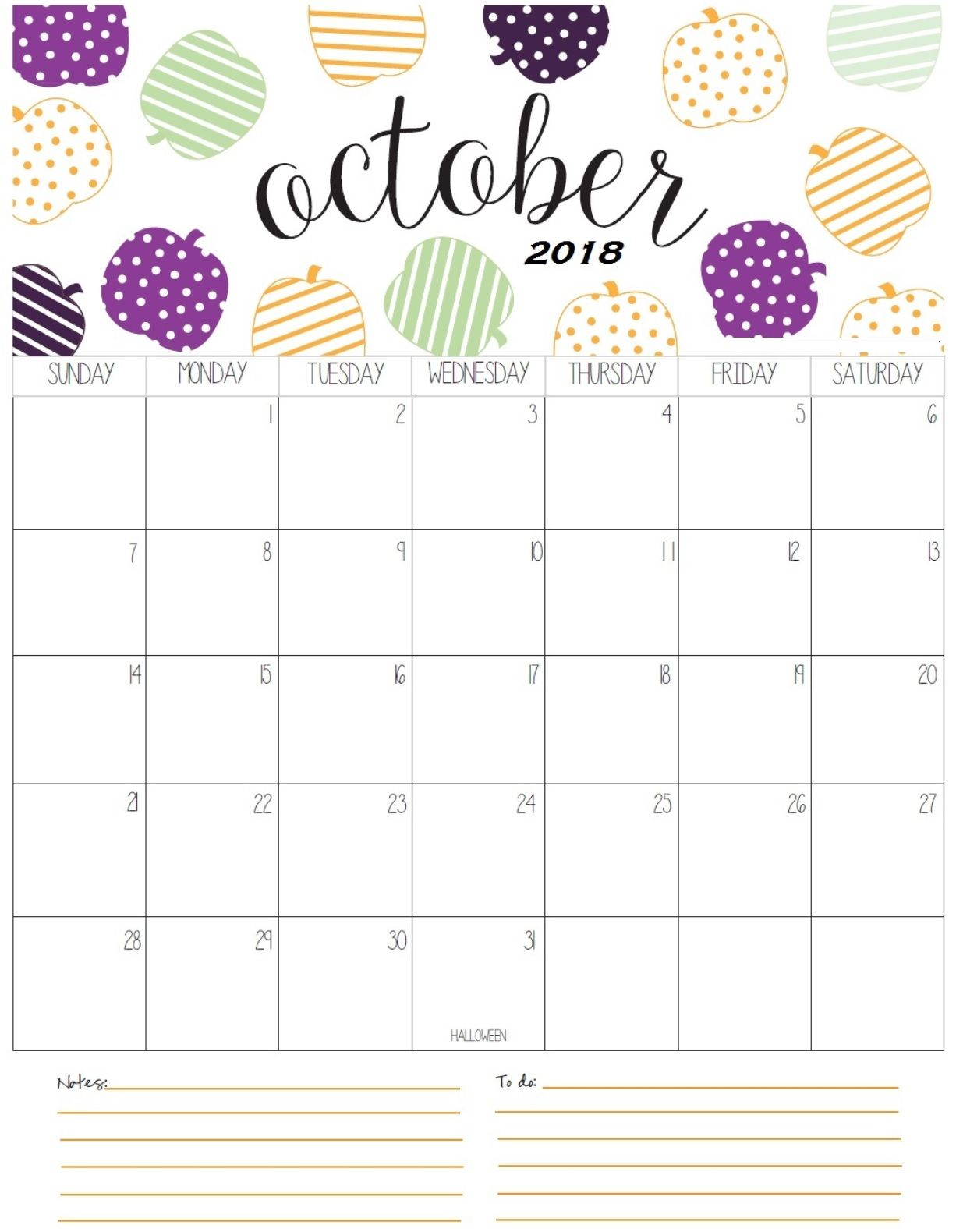 graphic relating to Printable Calendar for October called Lovely Oct 2018 Calendar Calendar 2018 Oct