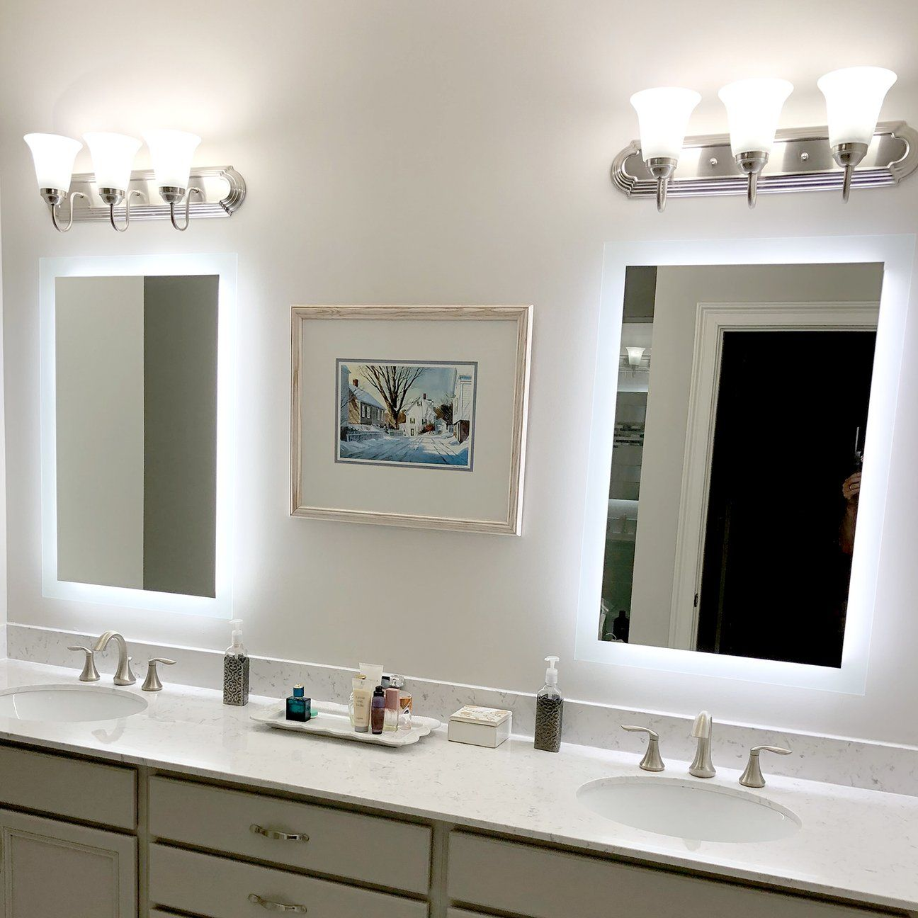 Side Lighted Led Bathroom Vanity Mirror 28 Wide X 40 Tall Rectangular Wall Mounted In 2020 Led Mirror Bathroom Bathroom Vanity Mirror Elegant Bathroom
