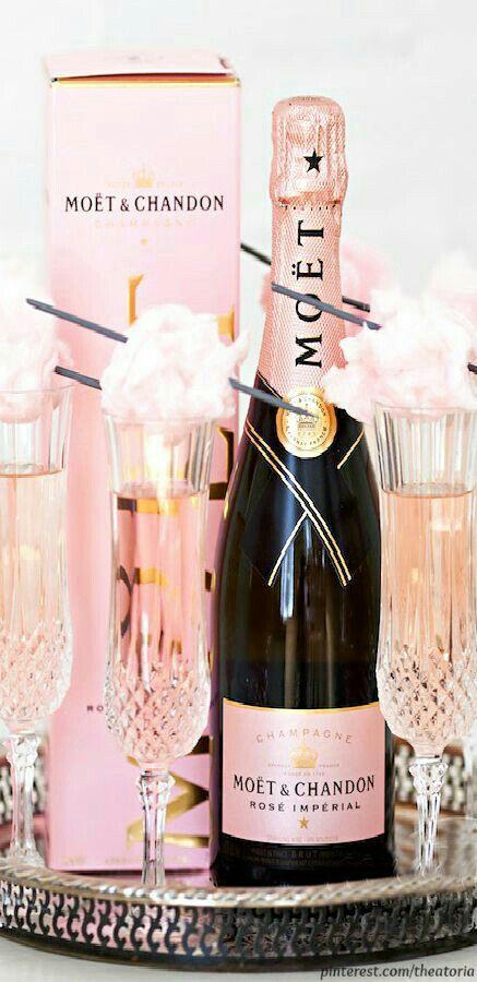 Beautiful pink champagne presentation.