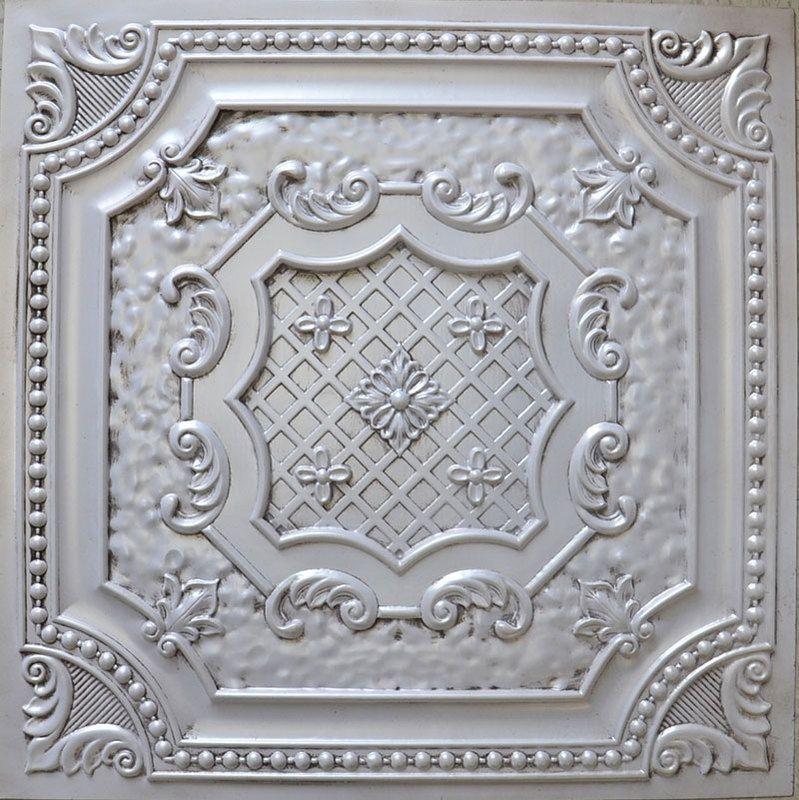 """Decorative Tin Tiles Elizabethan Shield  Faux Tin Ceiling Tile  24""""x24""""  #dct 04"""