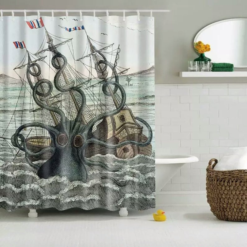 3d Printing Shower Curtain Waterproof Mildewproof Polyester Fabric Bath Curtains Bathroom Product With 12 Hooks Aa In 2020 Custom Shower Curtains Fabric Shower Curtains Curtains