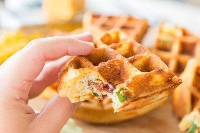 Photo of Bacon Cheddar Waffles – Savory Waffle Recipe – Fifteen Spatulas