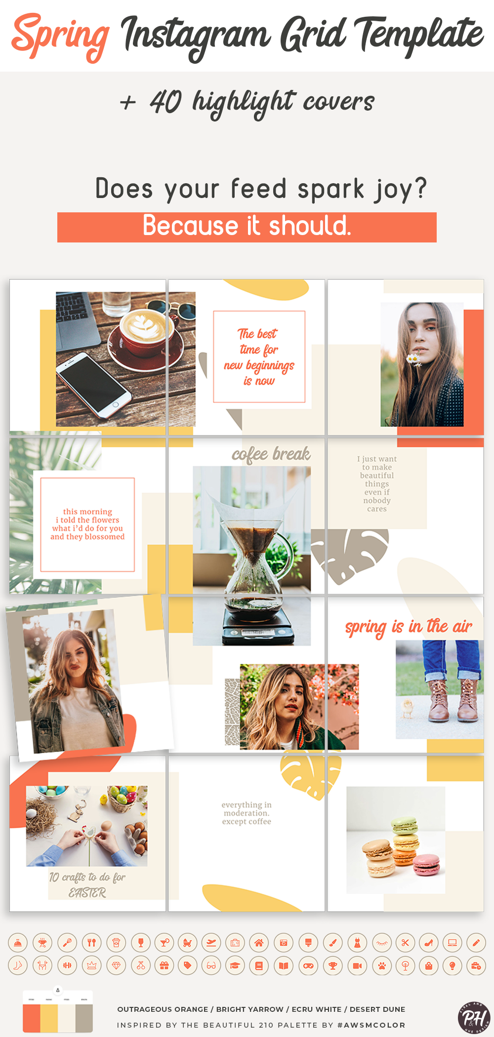 Instagram Puzzle Grid Template Because Spring Is Here Instagram Templates Ideas Of I In 2020 Instagram Template Design Instagram Feed Layout Instagram Grid Layout