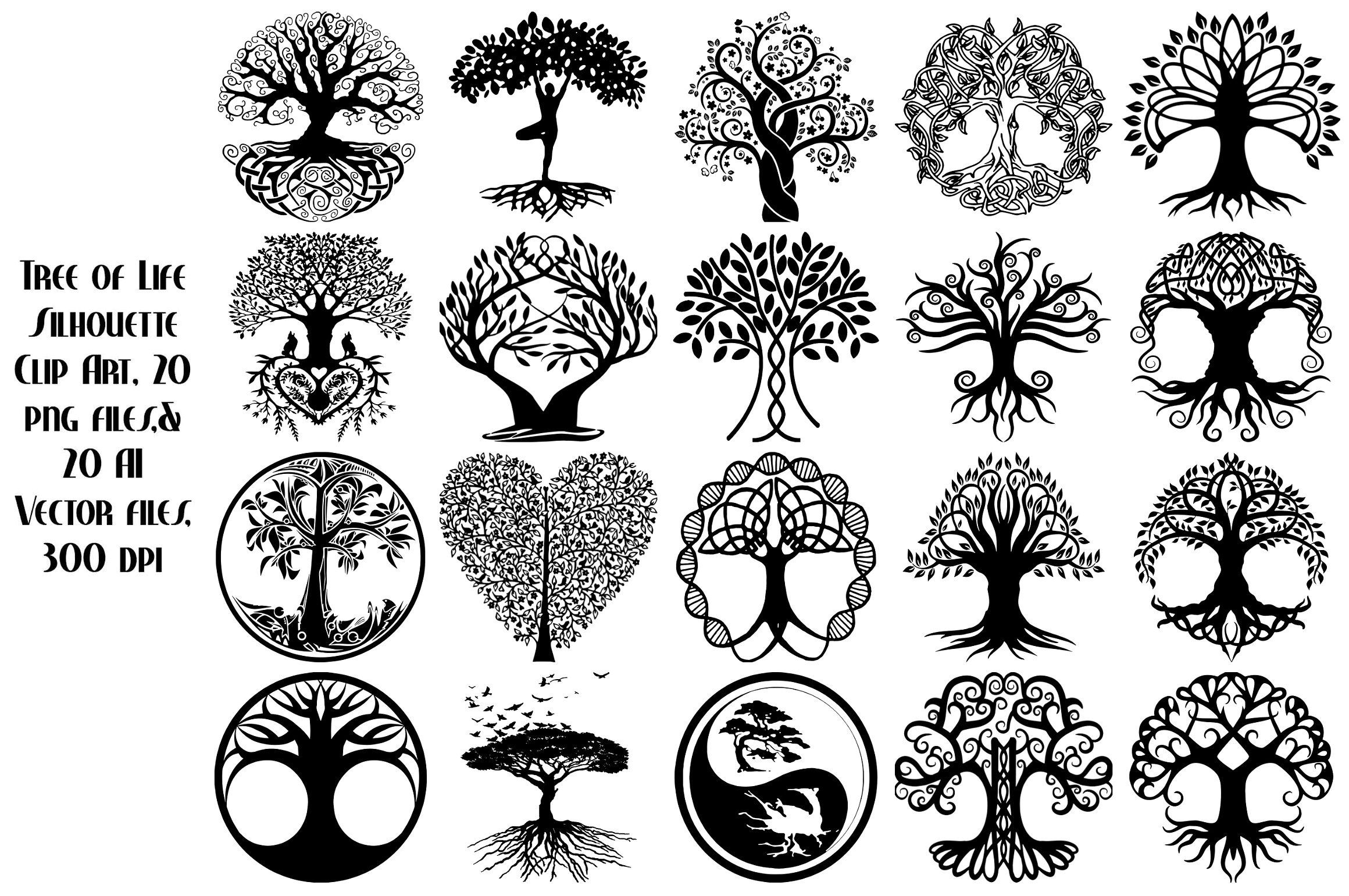 Tree of Life Silhouette AI EPS PNG by FrankiesDaughtersDesign on ...