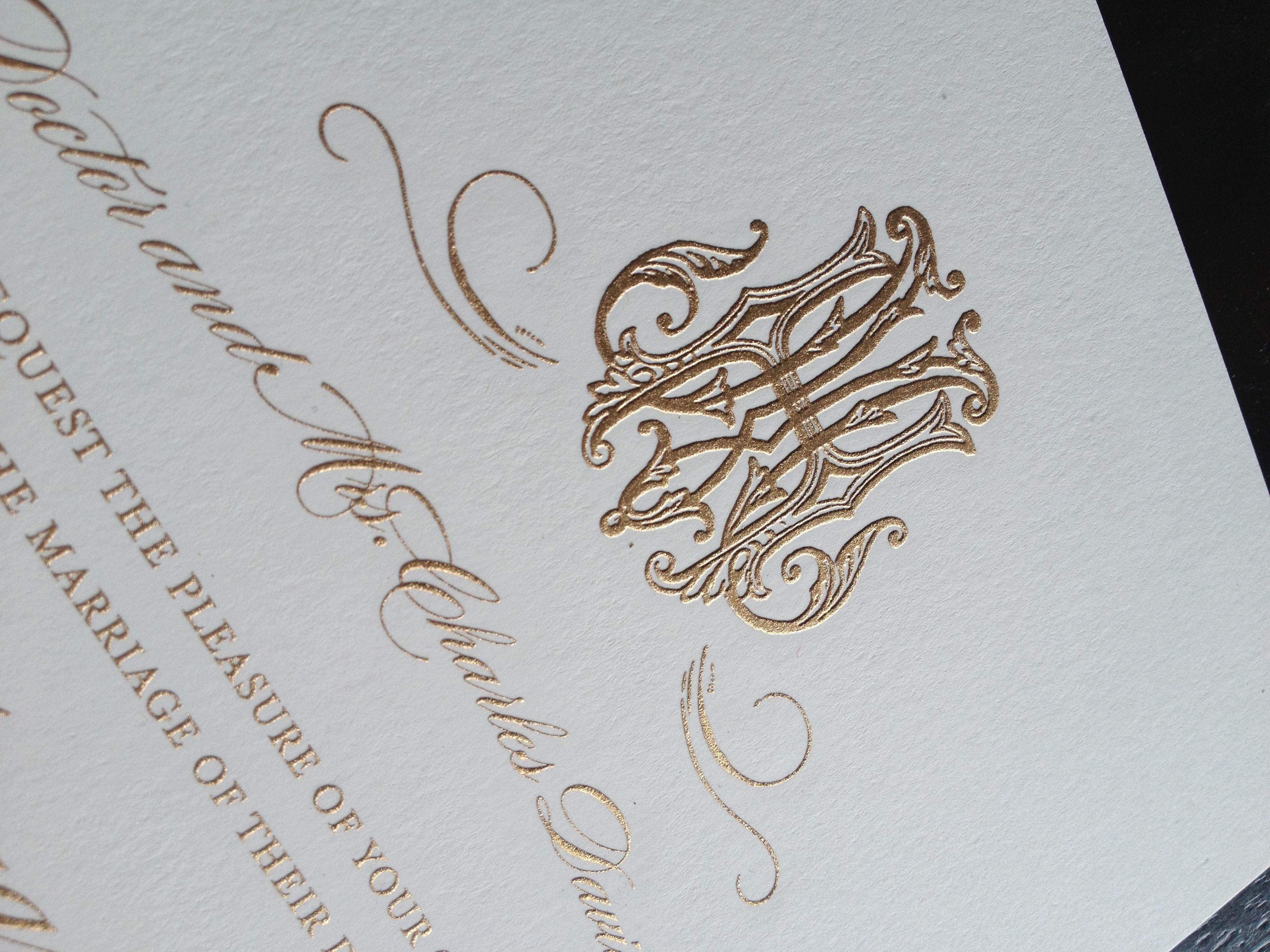 Initial Wedding Invitations: Beautiful Monogram Engraved Wedding Invitation For