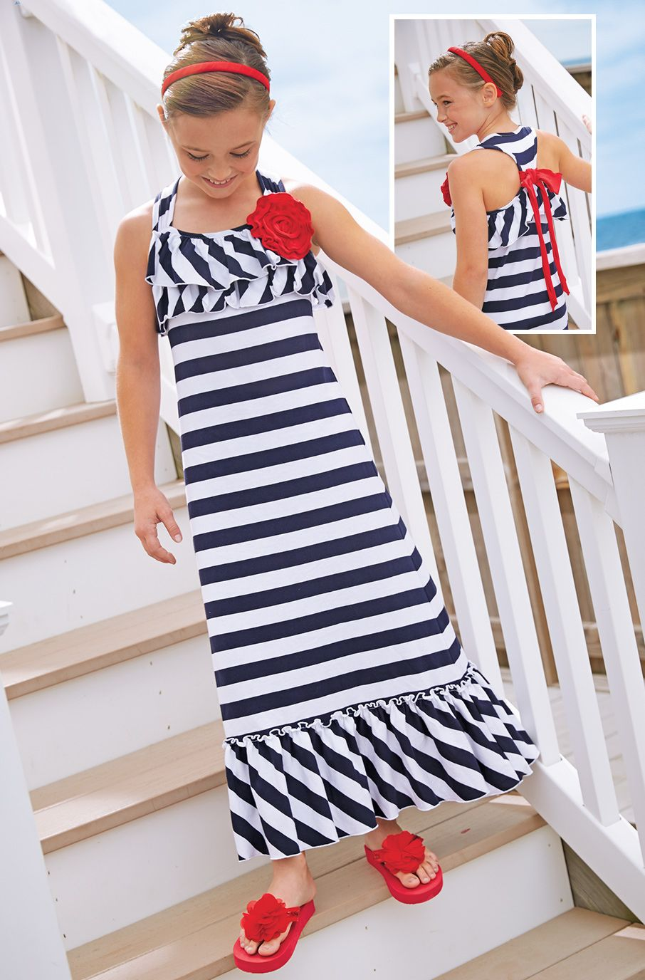 From cwdkids stripe ruffle maxi dress moda para mujeres