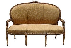 19th-C. French Bronzed Gilt Settee