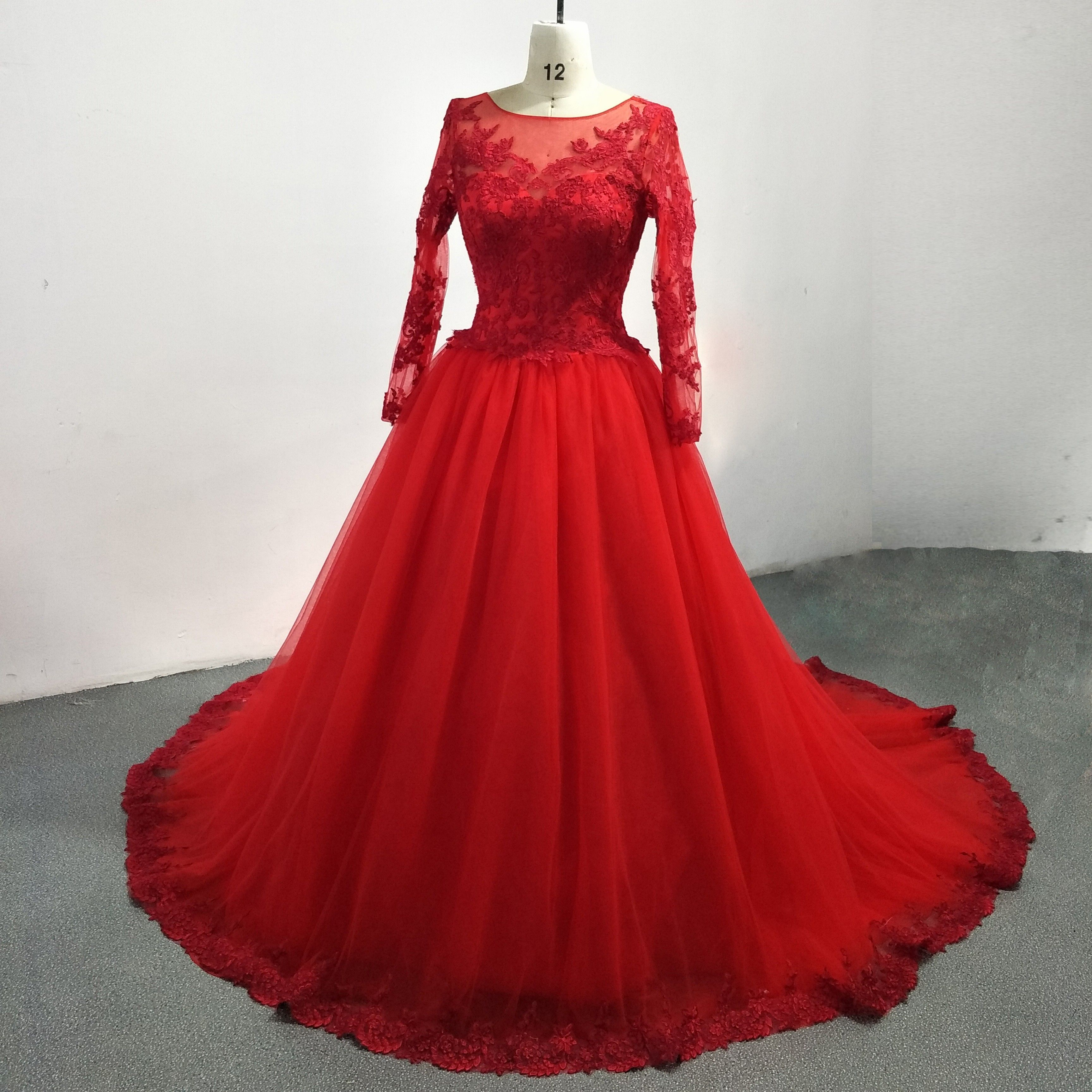 Long Sleeves Red Tulle And Lace Wedding Dress