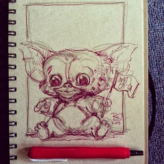 "New Gremlins sketch by Patrick Ballesteros for ""Sketch Friday."" SO CUTE."