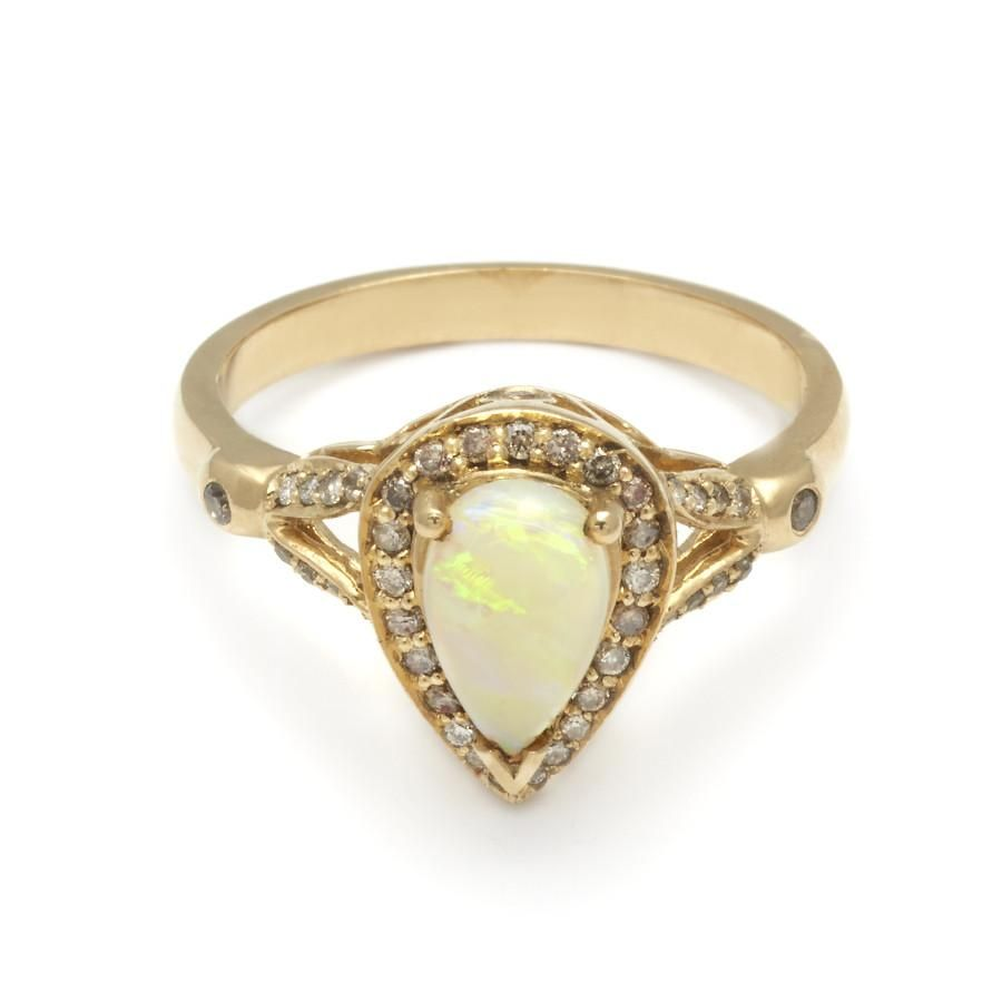 Teardrop luna ring yellow gold u opal engagement and weddings