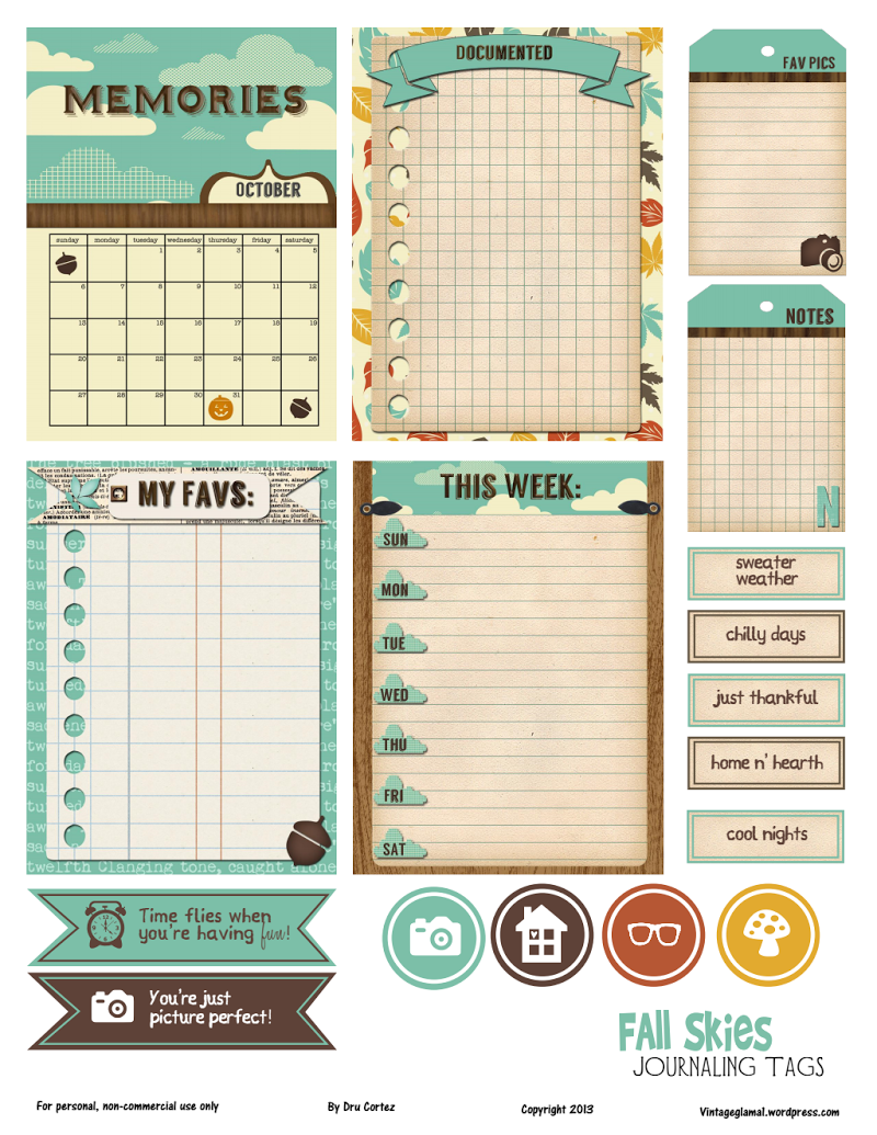 Free Printable Download – Fall Journaling Elements This free