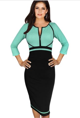 Women's Elegant Contrast High Waist Slimming Zipper Front Wear to Work Career Business Office Stretch Bodycon Dress